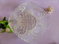 Early American Pressed Glass Bowl, Art Deco Depression Glass, Cottage Chic 1930s