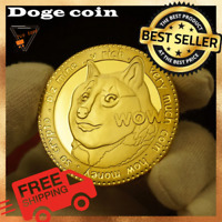 Dogecoin Coin Cryptocurrency Virtual Currency Gold Plated Collection FREE SHIP!