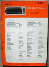 Siemens Videocord FM488 Service Manual inkl. Mech. Teil, VHS