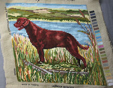 Finished Handmade Needlepoint Tapestry Fabric Hunting Dog Pillow Chair Frame