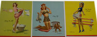 Vintage Set of 3 Early Art Frahm Small Note Pad Pin-ups