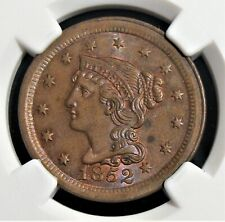 1852 1C  Braided Hair Large Cent. MS63 BN NGC.