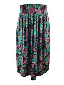 Vintage Women Skirt High Waist Floral Print Pockets Pleated Aline Blogger W32 14