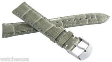 NEW Michele Womens 18mm Grey Alligator Leather Watch Band Strap