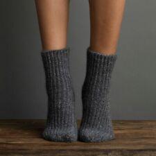Lemon Ladies Chenille Fuzz Rib Boyfriend Boot Socks Flannel Charcoal Grey - NEW