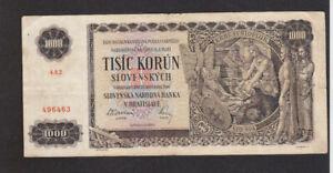 1000 KORUN FINE  BANKNOTE FROM SLOVAKIA 1940 PICK-13