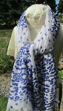 """""""""""White With Royal Blue Print Design"""""""" Scarf - Ny & Co - Nwt - Great Gift"""