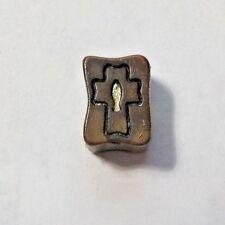 Vintage Bronze & Silver Tone Cross Crucifix & Fish Charm Pendant