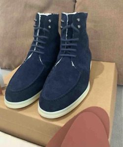 Loro Piana Shoes Shearling Lined Suede Boots Size 42 NEW