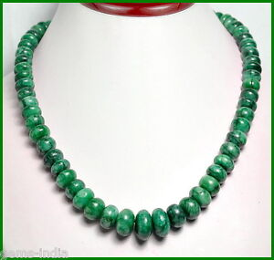 """415+ CT NATURAL GREEN CABOCHON EMERALD BEADED GRADUATION STYLE ~ 18"""" NECKLACE"""