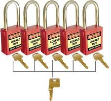 Premium Safety Padlock set of Five With Master Key Red Loto Locked Out  UL417