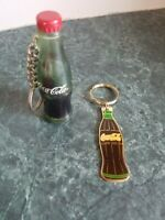 Vintage Coca Cola Bottle Liquid 1999 Black Enamel 1986 Coke Keychain Lot