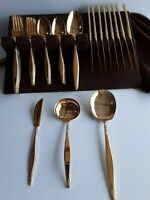 ROGERS Gold Plated Flatware Set 48 Piece Silverware VINTAGE Service for 8