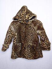 Wilson Leather Kids Girls Large Coat Faux Fur Leopard Reversible Black Hooded