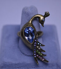 LONG PEACOCK RING WITH LARGE BLUE CRYSTAL & MULTI COLORED RHINESTONES SIZE 8
