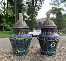 Gorgeous Pair Of Antique / Vintage Chinese Cloisonné Enamel & Jade Wall Vases