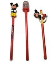 Set of 3 Vintage Disney Minnie and Mickey Mouse Pencil Toppers Applause