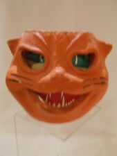 ☆~ Antique Paper Mache Halloween ORANGE Cat Head LANTERN #6 ~Candy Container ~☆