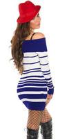 Jumper Long Sweater Tops Ladies Womens Knitted Mini Striped Dress UK size 10 12