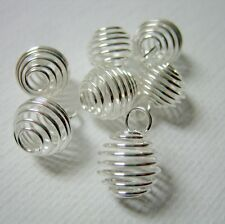 20 Silver Plated Spiral Cage Bead Findings 12x9mm Jewelry Supplies