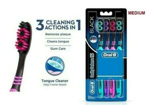 Oral-B CAVITY DEFENCE 123 BLACK TOOTHBRUSH (MEDIUM) -4 PC PACK | Gently Clean