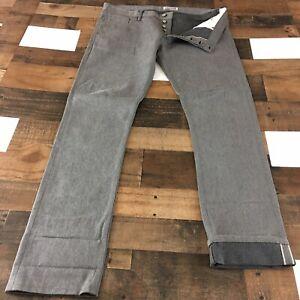 Gustin Jeans California Slim Straight Fit Raw Gray Selvedge Denim Men's Sz 40x36