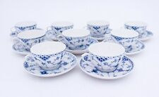 9 Unusual Cups & Saucers #713 - Blue Fluted Royal Copenhagen - 1:st Quality