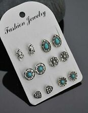 Multi pack stud  earrings 6 pairs rhinestone studs turquoise elephant heart