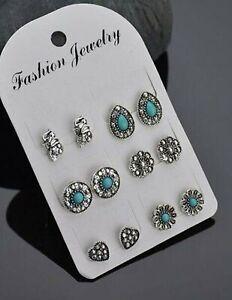 Multi pack stud  earrings 6 pairs rhinestone studs turquoise elephant heart