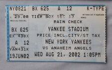 New York Yankees Vs Anaheim Angels Ticket Stub 2002 8/21/02