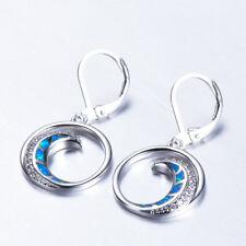 Ohrring mit Mond Mondsichel aus blauem Opal Feueropal Sterling Silber 925
