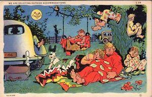 1935 Address and moonlight comics postcard - Curt Teich - Enjoying the Outside