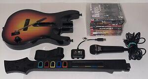 PS3 Guitar Hero Bundle Wireless Sunburst Guitar Bundle W/ Dongle + 7 Games & Mic