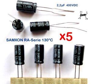 2,2uF 400V 130°C (5 Stück) - SAMXON RA-Serie - HV / HT Elko 130°  6,5 x 12,5 mm