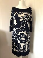 Coast Navy Blue & Cream Floral Tunic Dress Size 12 Floaty Shift Style 3/4 Sleeve