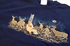 Vintage 1999 Hunter Deer Cartoon Shirt Gildan XL Blue