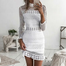 Women Casual Beach Short Dress Mini Lace Patchwork Dress Sexy Party Dresses