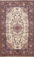 Traditional Ivory Ardakan Hand-knotted Floral Oriental Area Rug Wool Carpet 4x6