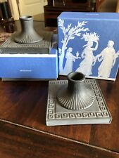 "New ListingPair Wedgwood Basalt ""Dynasty� Greek Key Motif Candlesticks Nib"