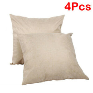 4Pcs Linen Square Sublimation Blanks Throw Pillow Case Cushion Cover 16''x16''