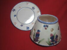 Blue White Pink Green Floral Candle Shade Topper & Plate for Yankee Candle EUC