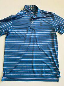 Peter Millar Polo Shirt Men's Large Summer Comfort Blue/Pink Stripe