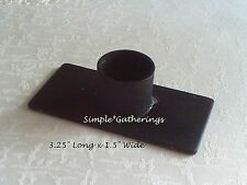 "Primitive BLACK Iron Windowsill Taper Candle Holder, Rustic Country 3.25"" Long"