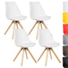 4 x Esszimmerstühle Küchenstuhl mit Rückenlehne Holz Kunstleder Weiß BH52ws-4
