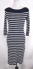 Lauren Ralph Lauren Women Knit Dress Size S Blue White Striped Cotton 3/4 Sleeve