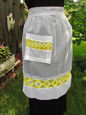 Vintage White Organdy Half Apron with Yellow Crochet