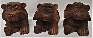 Vintage, Three Wise Monkey Set: Hear No See No & Speak No Evil, Wooden, Good Con