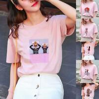 Fashion Korean Women/Girl Print Casual Short Sleeve Scoop Neck T-shirt Loose Top