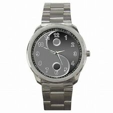 Yin Yang Symbol Taoism Chinese Insights Circle Stainless Steel Watch