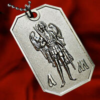 ARCHANGEL ST.MICHAEL PROTECT ME SAINT MEDAL PENDANT NECKLACE DOG-TAG BALL CHAIN